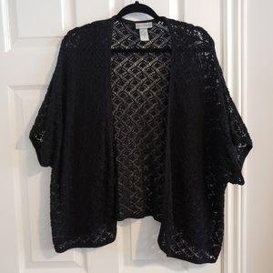 Black knit short sleeved cardigan, 4x plus sized